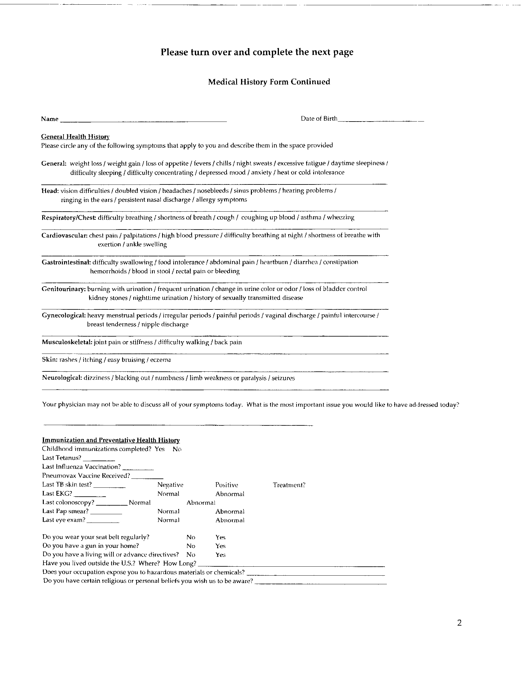 Drdouglaslister medical forms medical history page 2 thecheapjerseys Image collections